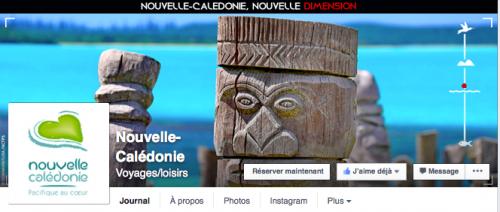 Capture d'écran de la couverture Facebook de Nouvelle-Calédonie Tourisme